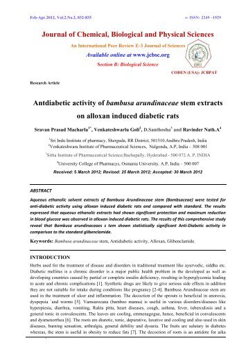Antdiabetic activity of bambusa arundinaceae stem extracts on