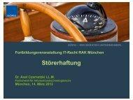 Vortrag - Dr. Axel Czarnetzki LL.M.
