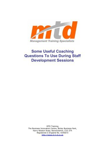 MTD Coaching - Management Training