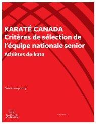 Critères de sélection de l'équipe nationale senior ... - Karate Canada