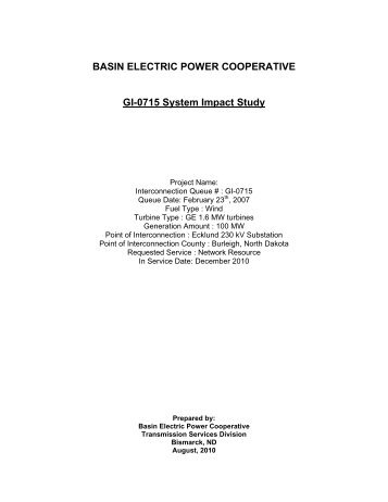 Basin Electric Power Cooperative - Western Area Power ...