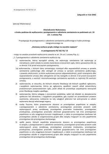Załącznik nr 4 do SIWZ - Oświadczenie o braku podstaw do ...