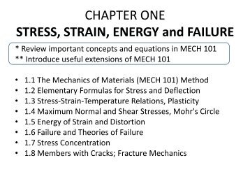 CHAPTER ONE STRESS, STRAIN, ENERGY and FAILURE