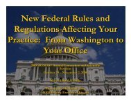 New Federal Rules and Regulations Affecting Your Practice: From ...