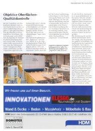 Objektive Oberflächen- Qualitätskontrolle DOMOIEX - GreCon