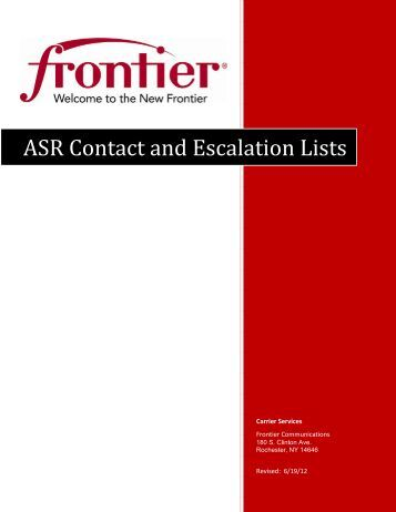 ASR Contact and Escalation Lists - Frontier