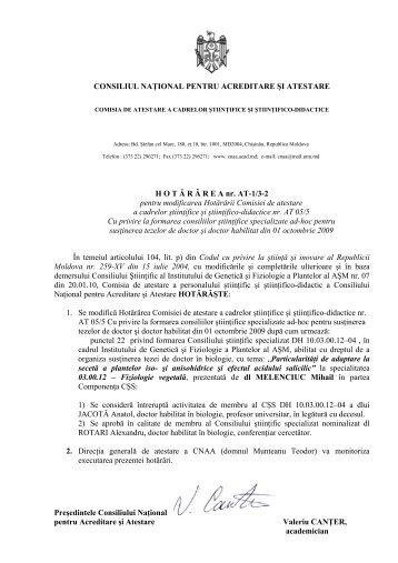 CONSILIUL NAŢIONAL PENTRU ACREDITARE ŞI ATESTARE HOT ...