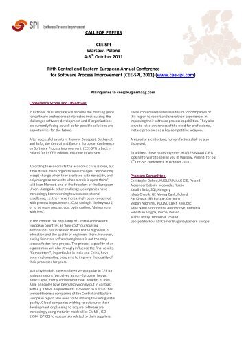 CALL FOR PAPERS CEE SPI Warsaw, Poland 4-5 October 2011 ...