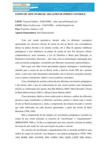 ENSINO DE ARTE NO BRASIL - Portal ANPED SUL