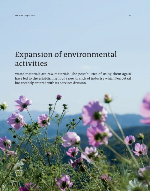 Expansion of environmental activities - Ferrostaal
