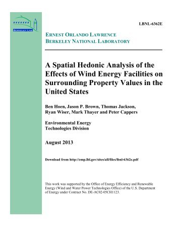 A Spatial Hedonic Analysis of the Effects of Wind Energy Facilities ...