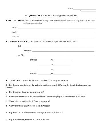 A separate peace chapter questions essay questions