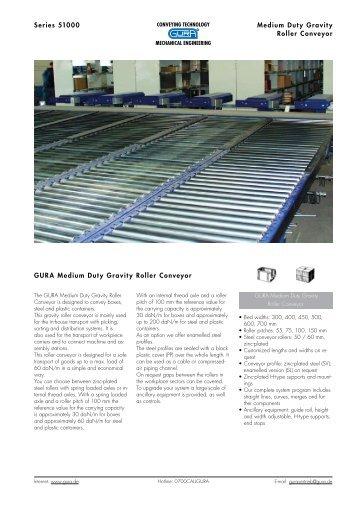 Series 51000 Medium Duty Gravity Roller Conveyor GURA Medium ...