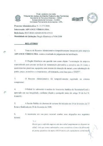 Poder Judiciário da União Tribunal de Justiça do Distrito ... - TJDFT