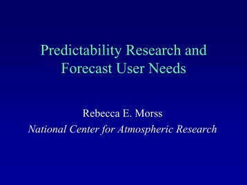 Predictability Research and Forecast User Needs
