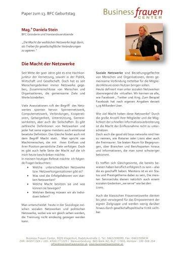 Die Macht der Netzwerke - Business frauen Center Kärnten