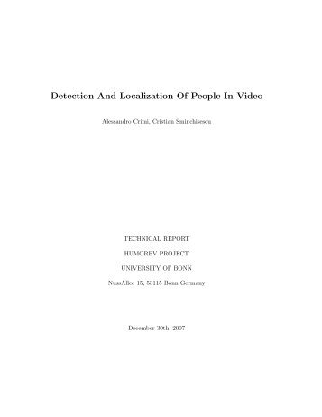 Detection And Localization Of People In Video - Cristian Sminchisescu