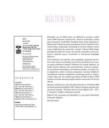bülten 68 (pdf) indir - Bilim ve Sanat Vakfı