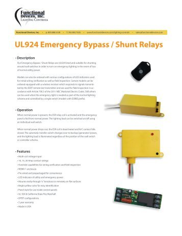 Ul 924 enclosed bypass shunt relay installation guide for use ul924 emergency bypass shunt relays functional devices inc asfbconference2016 Gallery