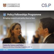 The Policy Fellowships Programme in 2011/12 - Centre for Science ...