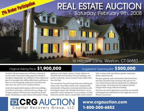 AUCTION REAL ESTATE AUCTION - Capital Recovery Group, LLC
