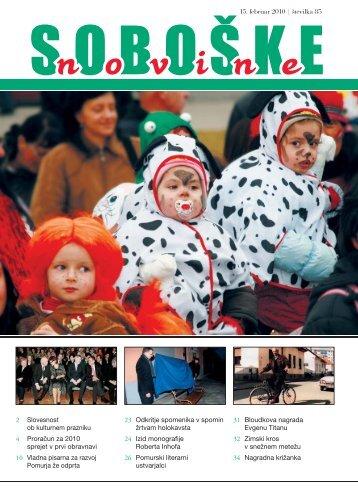 Soboške novine številka 85 ______ 15. feb. 2010