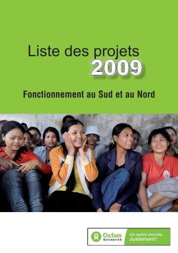 Liste des projets 2009