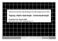 Begrüssung - CHy - SCNATweb