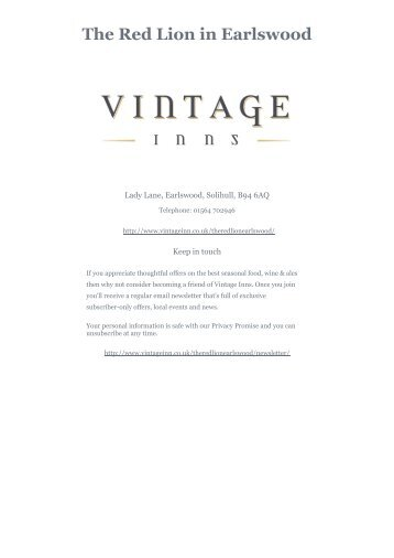 Download The Red Lion Sunday menu - Vintage Inns