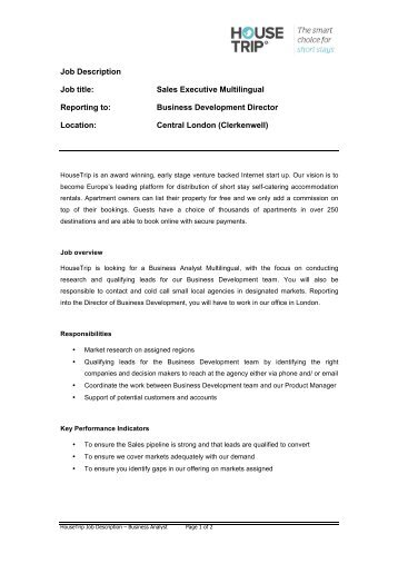 Job Description: Sales Support Executive (Internship)