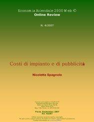 Costi di impianto e di pubblicità - Economia Aziendale Online