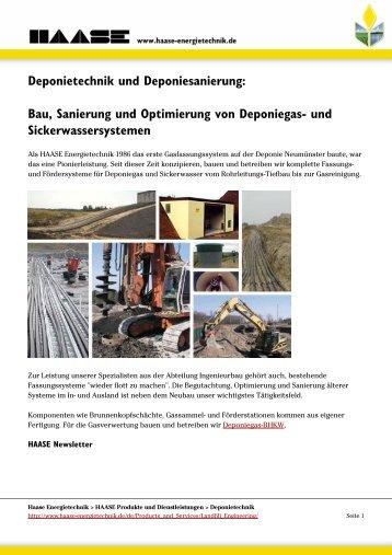 Bau, Sanierung und Optimierung von Deponiegas - HAASE ...