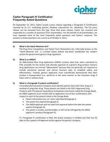 Paragraph IV Patent Certifications.pdf