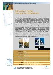 Optimisation et réglage d'une ligne de conditionnement - EIA-FR