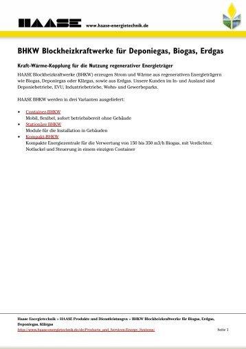 BHKW Blockheizkraftwerke für Deponiegas, Biogas, Erdgas