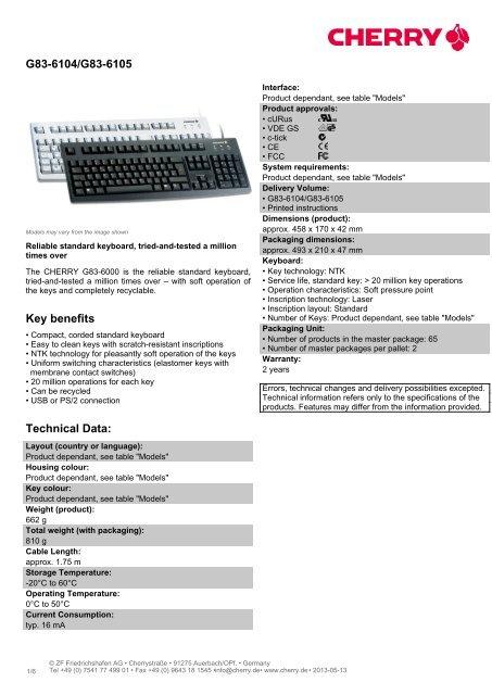 G83-6104/G83-6105 Key benefits Technical Data: - Cherry