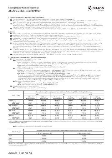Dla Firm w stałej cenie II (POTS) - DIALOG