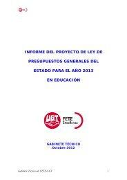 informe del proyecto de ley de presupuestos generales ... - FETE-UGT