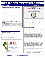 Safe Driving Teen Monthly Bulletin - nationalsafetycommission.com