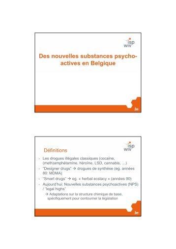 Des nouvelles substances psycho- actives en ... - Laurette Onkelinx