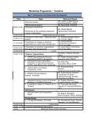 Workshop Programme – Tentative - Agricultural and Food Marketing ...