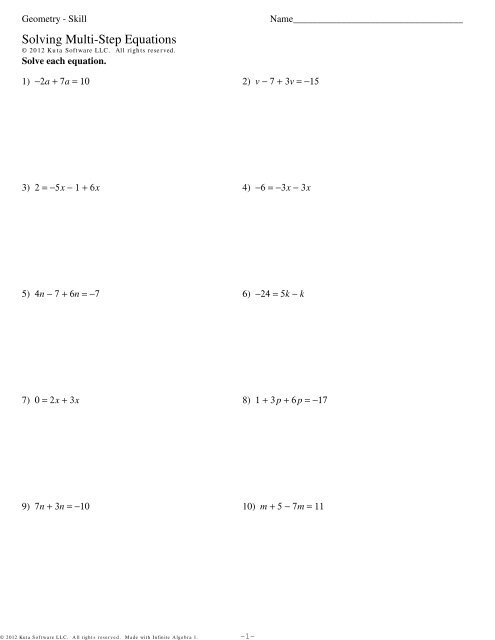 Geometry - Skill - Solving Multi-Step Equations