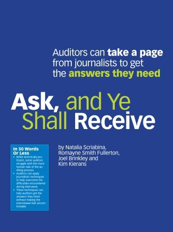 Auditors can take a page from journalists to get the answers they need