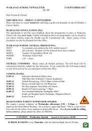 WAIKANAE SCHOOL NEWSLETTER 13 SEPTEMBER 2012 12 / 29 ...