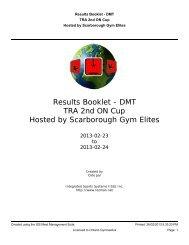 Scarborough Gym Elites Results DMT - Gymnastics Ontario