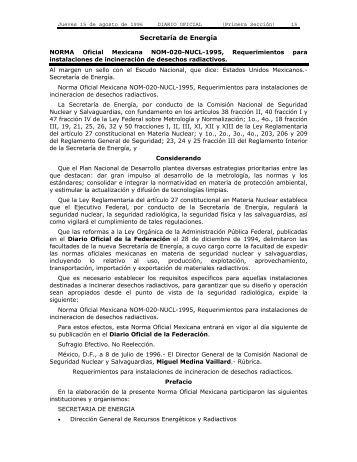 NORMA Oficial Mexicana NOM-020-NUCL-1995, Requerimientos ...