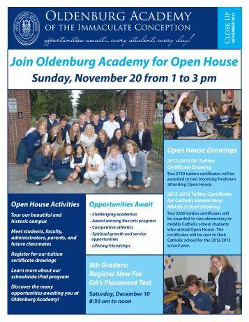 Join Oldenburg Academy for Open House Sunday, November 20 ...