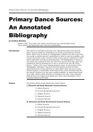 Primary Dance Sources: An Annotated Bibliography