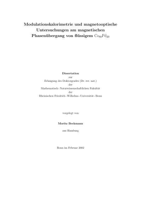Modulationskalorimetrie und magnetooptische Untersuchungen am ...