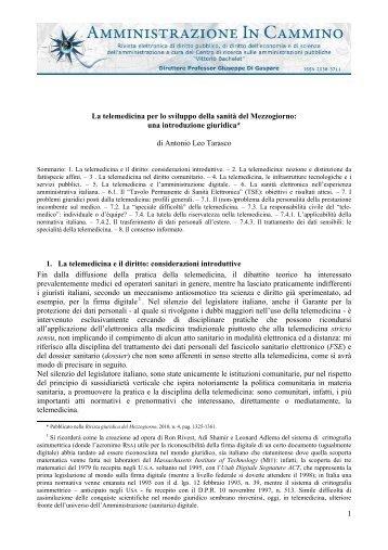 1 La telemedicina per lo sviluppo della sanità del Mezzogiorno: una ...